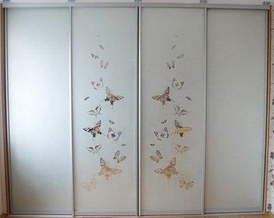 Двери-купе с пескоструйным рисунком на 4 двери Адалит
