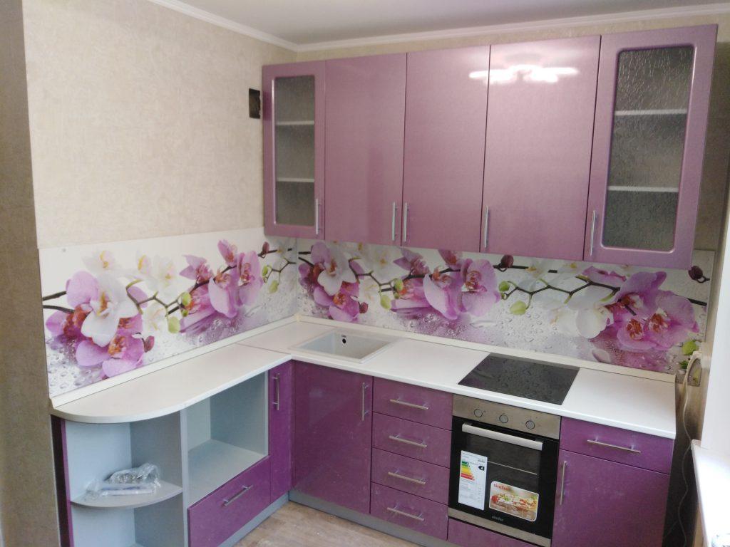 """Кухня с фотопечатью """"Орхидея"""" фиолетовая"""