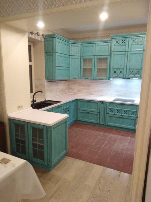 Бирюзовая кухня в стиле Кантри - Мебельная фабрика Адалит