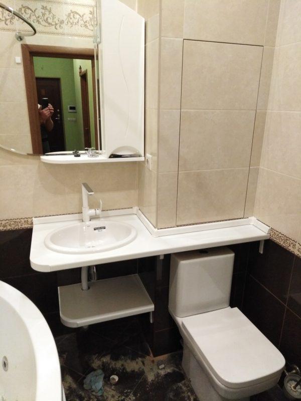 Эскизная столешница и полка в ванную комнату - Мебельная фабрика Адалит
